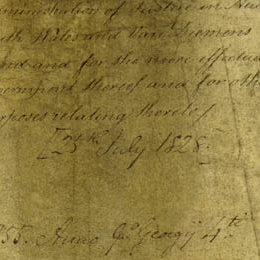 This detail shows the brown handwritten title of the document.