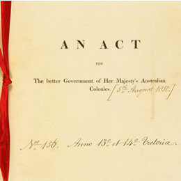 Detail from the front cover of the Australian Constitutions Act 1850 (UK).