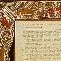 Detail of the bark painting that surrounds the Yirrkala petitions of 1963.