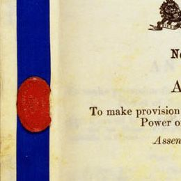 Detail of the cover of the Judiciary Act 1903 (Cth), showing the wax seal.