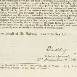 This detail shows the signature of the Governor-General on the assent to the Act.
