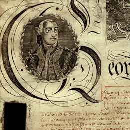 This detail shows some of the decorative border on the Charter of Justice.