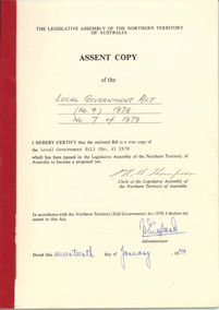 Local Government Act 1978 (NT), assent