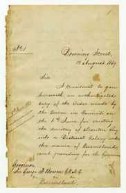 Order-in-Council establishing Representative Government in Queensland 6 June 1859 (UK), p1