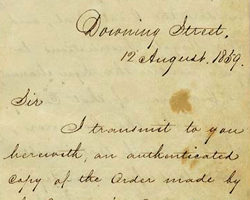 Detail of the handwritten cover letter attached to this 1859 document.
