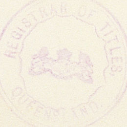 Detail from the last page of the Aboriginals Protection and Restriction of the Sale of Opium Act 1897 (Qld) showing the stamp of the Registrar of Titles.
