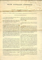 South Australian Commission Land Sale Regulations 1835 (issued by the Commissioners in the UK), p1