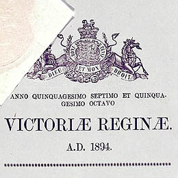 Detail from the title page showing the crest and part of the seal on the Constitution (Female Suffrage) Act 1895 (SA).