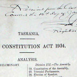 Detail from the contents page of the Constitution Act 1934 (Tas).