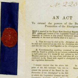 Detail showing the red seal and title page of the Aborigines Act 1910 (Vic).